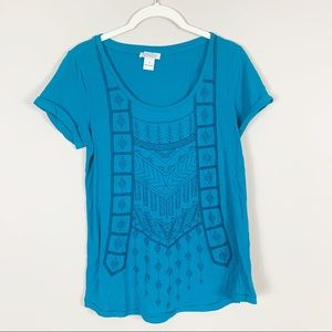 Lucky Brand | Embroidered Graphic Tee